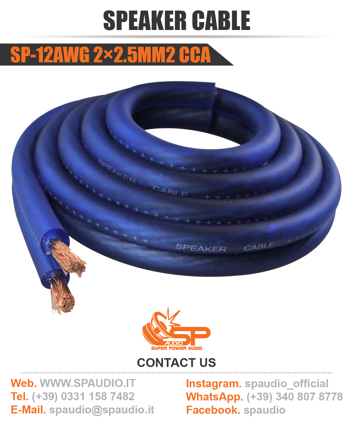 SP-12AWG 2X2.5MM2 CCA BLUE 2020