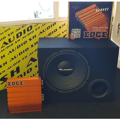 IV. Autóhifi akciós csomag: Gladen Alpha bass reflex mélyáda + Edge ED7300-E2 autóhifi 2 csatornás erősítő