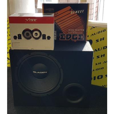 V. Autóhifi akciós csomag: Vibe Audio PULSE6C-V4 autóhifi komponens hangszóró szett + Gladen Alpha bass reflex mélyáda + Edge ED7300-E2 autóhifi 2 csatornás erősítő